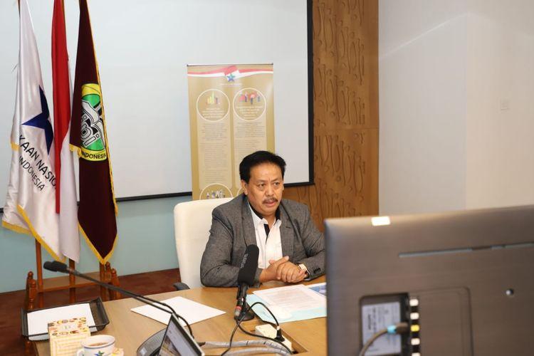 Kepala Perpustakaan Nasional, Muhammad Syarif Bando saat menjelaskan secara daring program inklusi dan transformasi Perpusnas (14/12/2020).