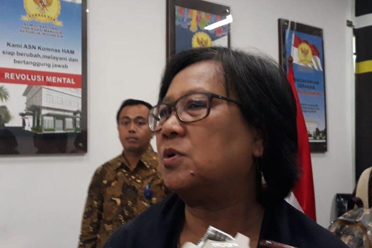 Wakil Ketua Bidang Eksternal Komnas HAM, Sandrayati Moniaga, saat ditemui di kantor Komnas HAM, Jakarta Pusat, Jumat (6/9/2019).