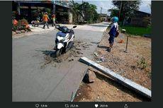 Viral Motor Terjebak di Jalanan yang Tengah Dibeton, Ini Ceritanya...