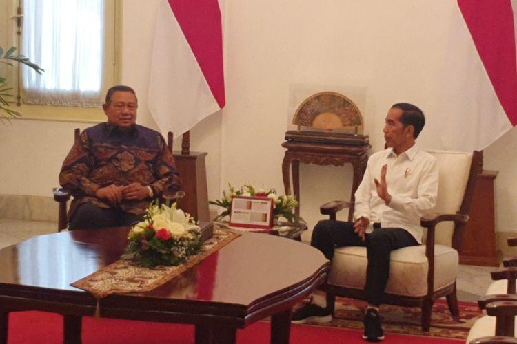 Presiden Joko Widodo bertemu dengan Presiden keenam RI Susilo Bambang Yudhoyono. Pertemuan digelar di Istana Merdeka, Jakarta, Kamis (10/9/2019).