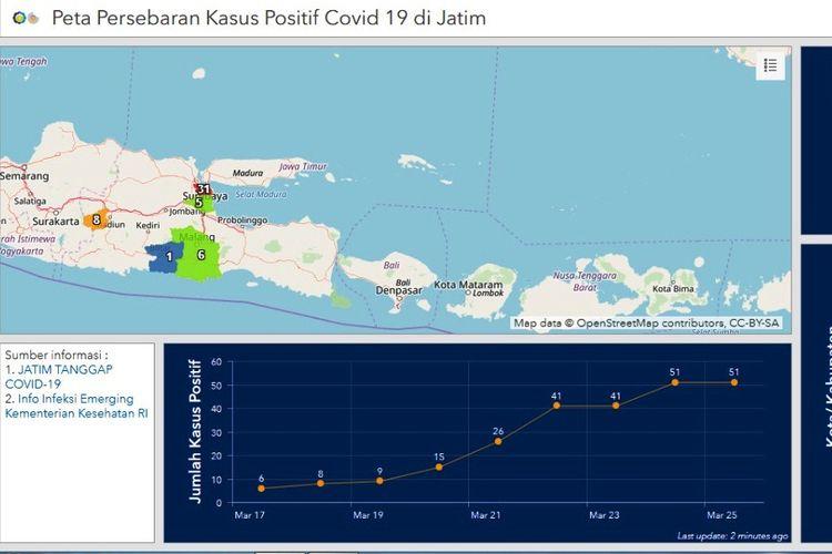 Peta persebaran virus corona ciptaan ITS Surabaya.