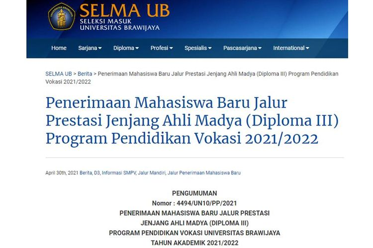 Tangkapan layar informasi soal penerimaan mahasiswa baru jalur prestasi jenjang D3 program pendidikan vokasi tahun ajaran 2021/2022.
