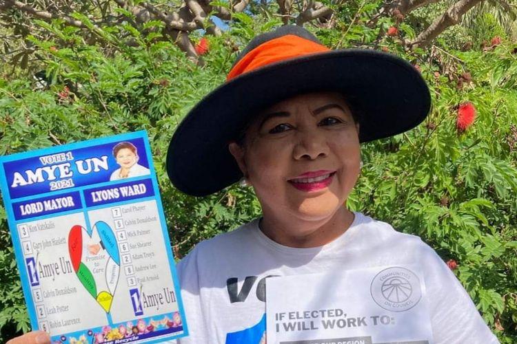 Amye Un, saat kampanye di pusat Kota Darwin Northern Territory, Australia