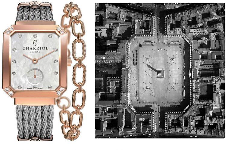 Desain jam tangan Charriol Mansart yang terinspirasi dari arsitektur Place Vendome di Paris