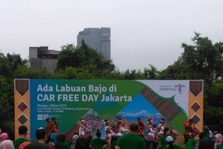 Kementerian Pariwisata Republik Indonesia menyelenggarakan sebuah acara bertajuk #AdaLabuanBajodiCarFreeDay di area Park and Ride 10, Jalan MH Thamrin, Jakarta Pusat, Minggu (3/3/2019).