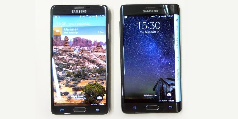 Tampilan depan Samsung Galaxy Note 4 (kiri) dan Galaxy Note Edge.