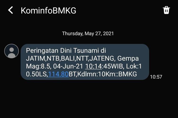 SMS blasti dari <a href='https://pontianak.tribunnews.com/tag/bmkg' title='BMKG'>BMKG</a>
