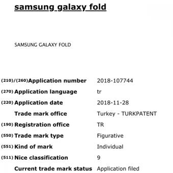 Bocoran dokumen trademark yang menunjukkan nama ponsel layar lipat Samsung.