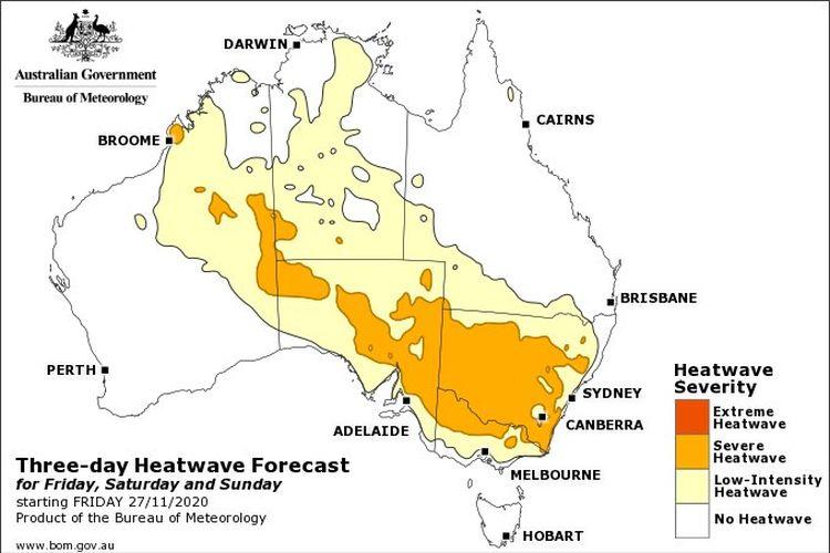 Kondisi gelombang panas akan terjadi mulai hari Jumat hingga Minggu pekan ini di hampir seluruh wilayah Australia kecuali Tasmania.