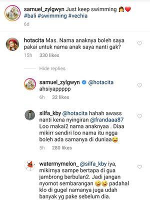 Samuel Zylgwyn menjawab komentar netizen soal nama anaknya di Instagram.