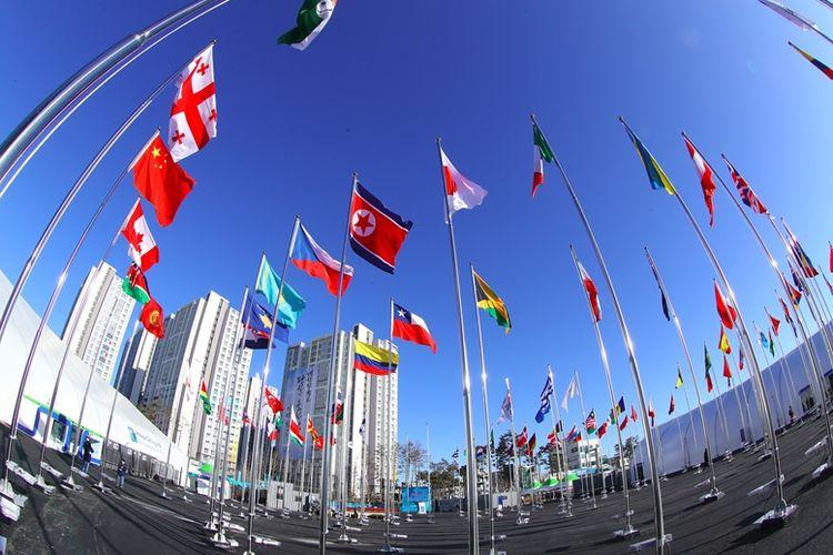 Ketika Bendera Korea Utara Berkibar Di Pyeongchang Korea Selatan