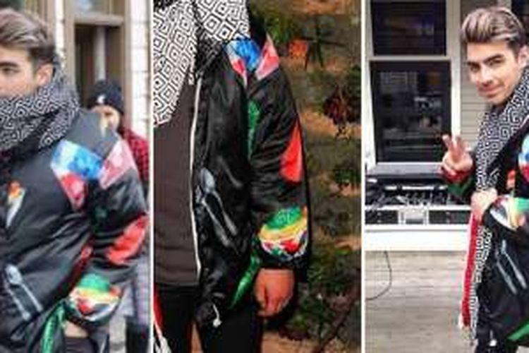 Joe Jonas mengenakan jaket bergambar mangkok cap ayam jago untuk wadah makan mi bakso hingga petai.