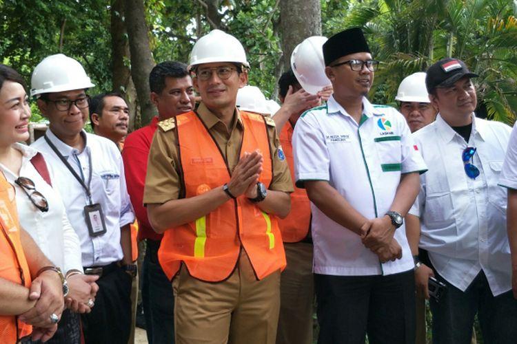 Wakil Gubernur DKI Jakarta Sandiaga Uno meninjau Pulau Bidadari, Kepulauan Seribu, Senin (29/1/2018).