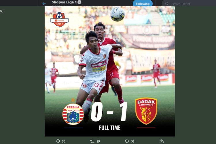 Persija Jakarta takluk 0-1 dari Perseru Badak Lampung