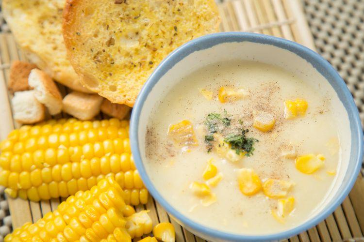 Ilustrasi sup krim jagung kental.