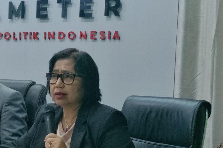 Ketua DPP Partai Nasdem Irma Suryani Chaniago saat menjadi pembicara dalam peluncuran hasil survei Parameter Politik Indonesia, di kawasan Pancoran, Jakarta Selatan, Kamis (17/10/2019).