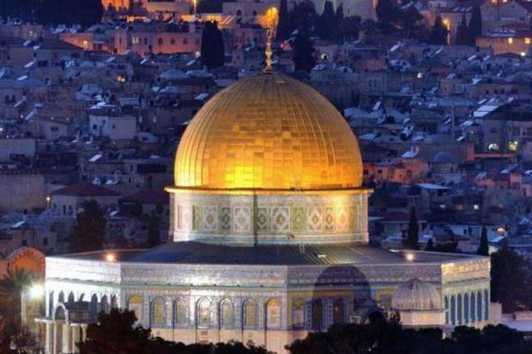 Pemandangan Dome of the Rock di kompleks Al-Aqsa di Jerusalem, Palestina.