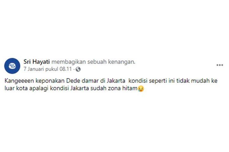 Tangkapan layar unggahan yang menyebut bahwa Provinsi DKI Jakarta masuk zona hitam.