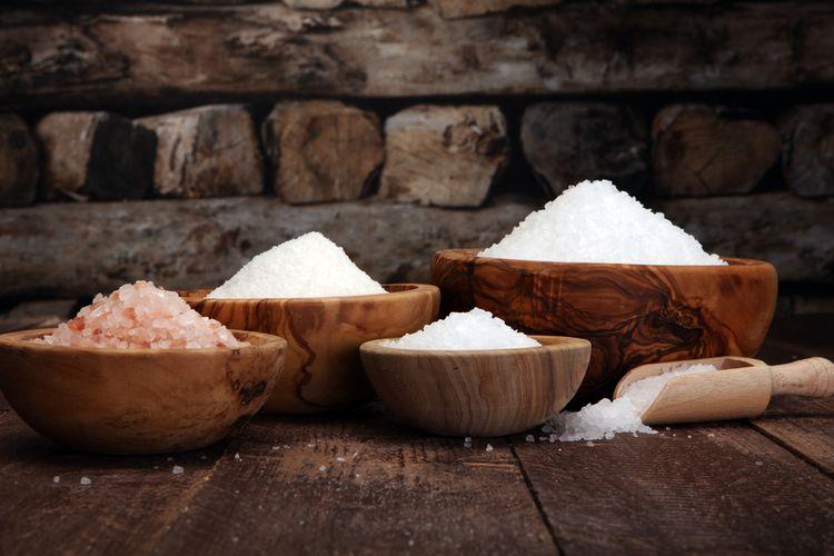 Ilustrasi garam, beragam jenis garam.