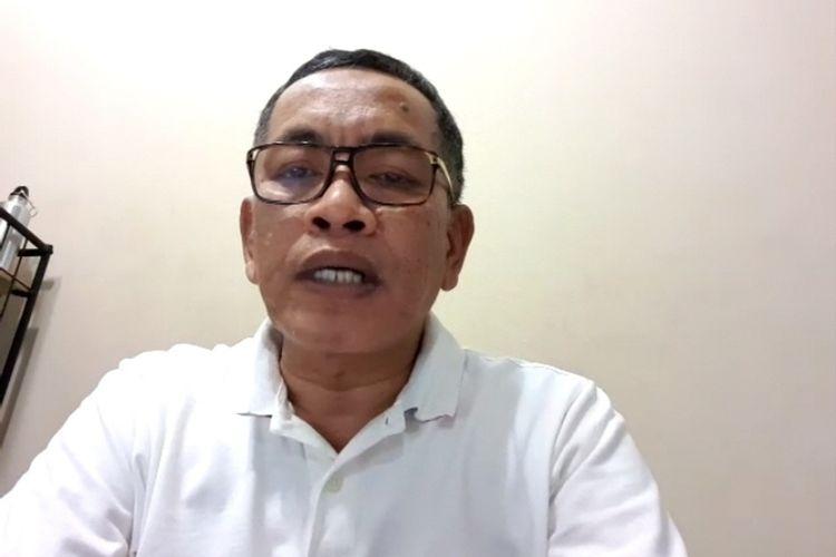 Kadis Kesehatan Sulawesi Selatan Ichsan Mustari saat melakukan video konferensi, Kamis (26/3/2020).