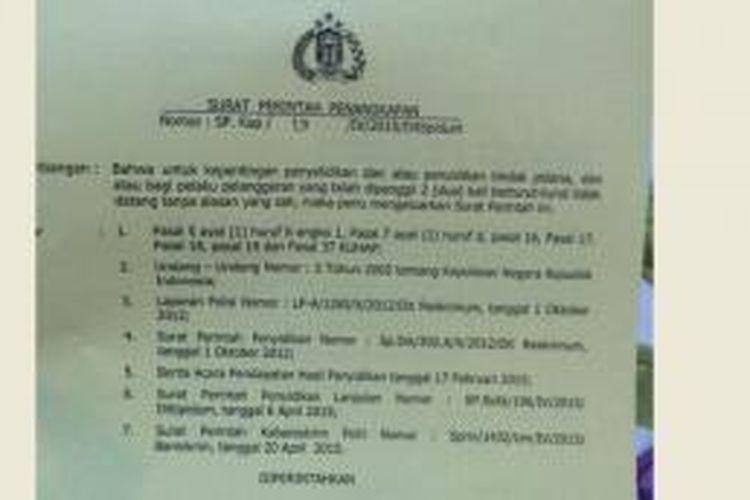Surat Perintah Penangkapan terhadap penyidik KPK, Novel Baswedan.