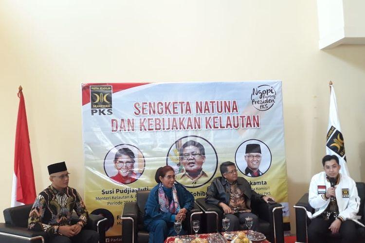 Menteri Kelautan dan Perikanan periode 2014-2019, Susi Pudjiastuti saat menghadiri diskusi soal Natuna di Jakarta, Senin (20/1/2020).