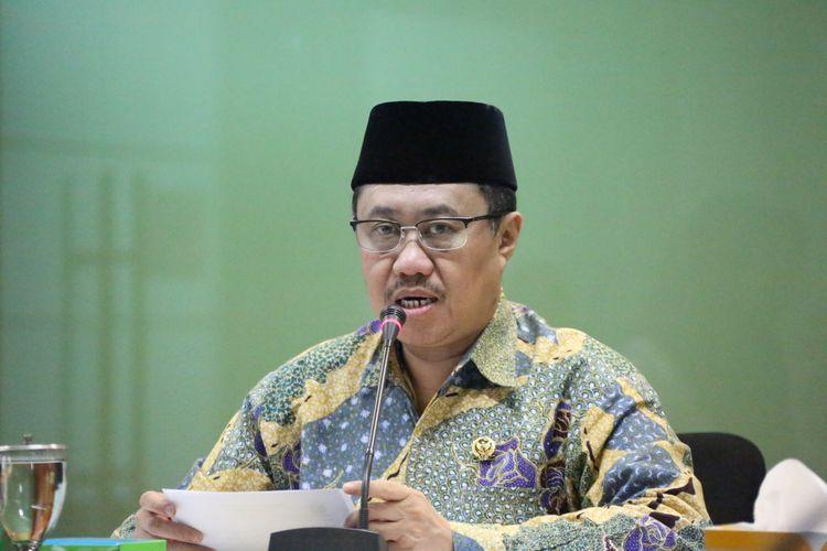 Ketua Bidang Rekrutmen Hakim KY, Aidul Fitriciada Azhari, dalam konferensi pers di Gedung KY, Jakarta, Selasa (5/11/2019).