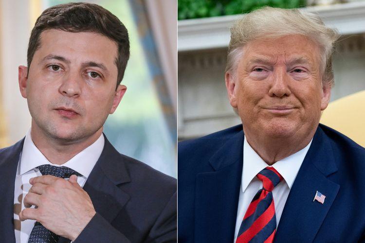 Presiden Ukraina Volodymyr Zelensky (kiri) dan Presiden Amerika Serikat Donald Trump.