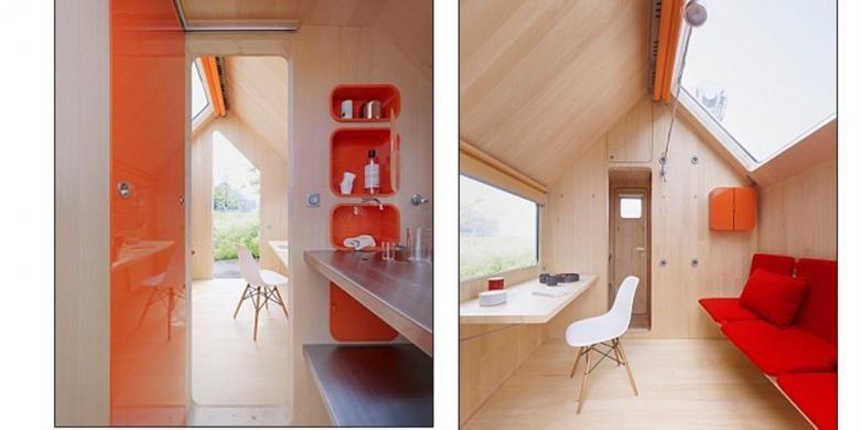 Interior di dalamnya dibuat sedemikian rupa untuk dua kegunaan di ruang keluarga, seperti misalnya sofabed, meja lipat, serta kompartemen lemari penyimpan.
