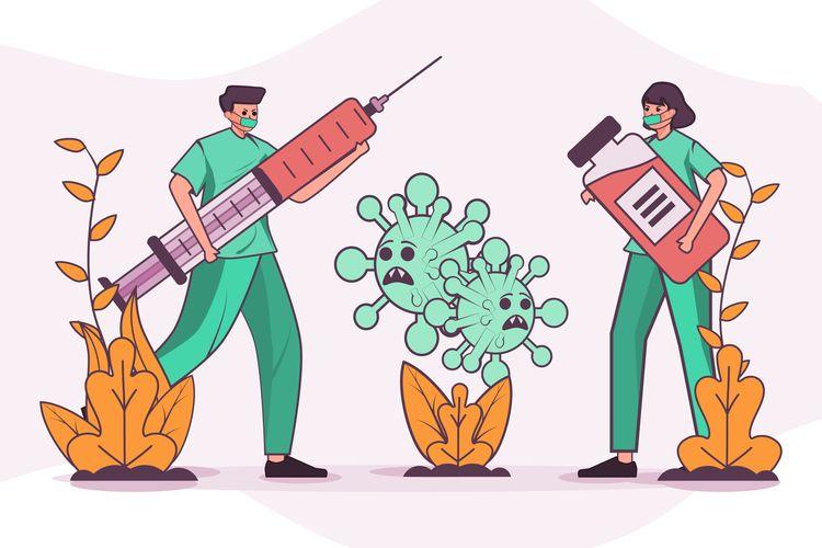 Ilustrasi vaksin, vaksin corona, vaksin covid-19, vaksin virus corona sin corona
