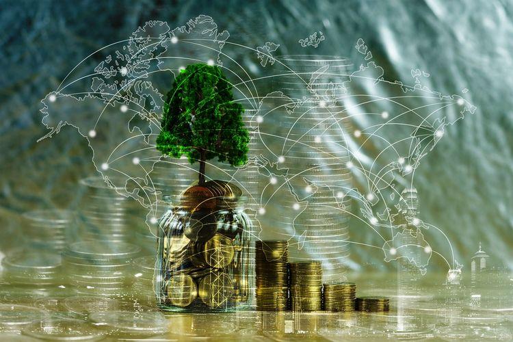Ilustrasi konsep pertumbuhan ekonomi melalui ekonomi hijau.