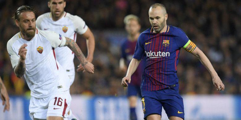 Kapten Barcelona, Andres Iniesta, dalam laga Liga Champions kontra AS Roma di Camp Nou, Rabu (4/4/2018)