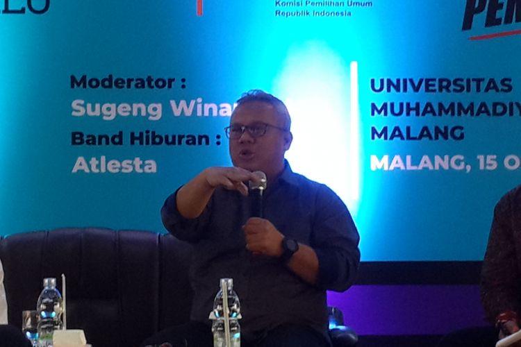 Ketua KPU RI Arief Budiman dalam acara KPU Goes To Campus di Universitas Muhammadiyah Malang (UMM), Senin (15/10/2018)