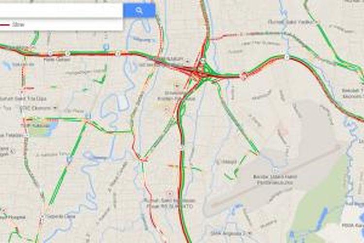 Peta kawasan Bandara Halim Perdanakusuma dan gambaran kondisi lalu lintas di sekitarnya berdasarkan data Google Maps, Jumat (10/1/2014) pagi sekitar pukul 08.30.