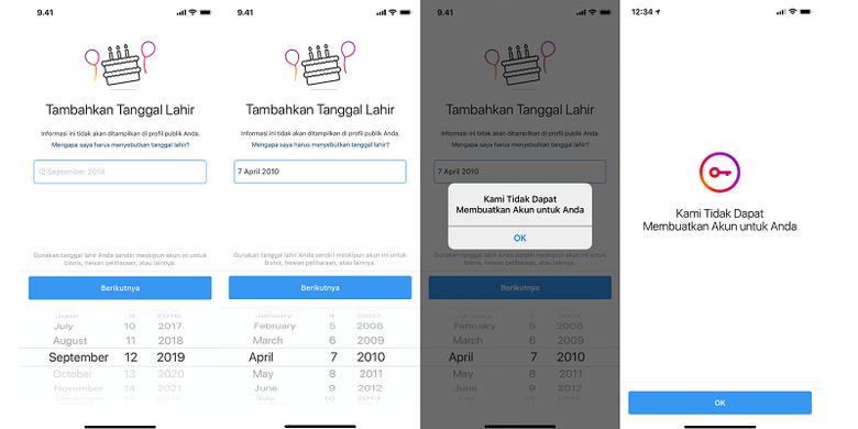 Instagram minta informasi tanggal lahir untuk pengguna baru.