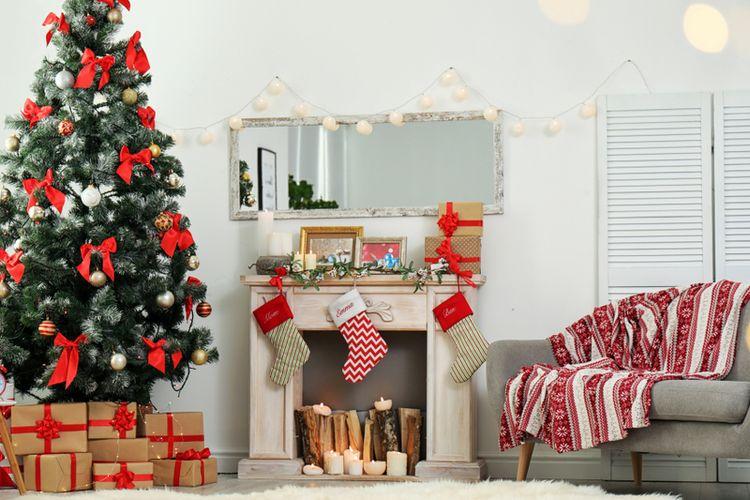 Ilustrasi dekorasi natal.