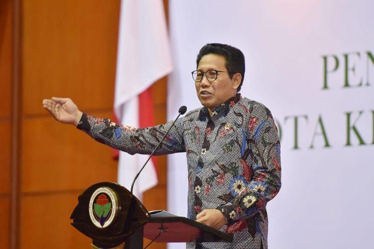 Menteri Pembangunan  Desa, Daerah Tertinggal dan Transmigrasi (Mendes PDTT) Abdul Halim Iskandar di Hotel Bidakara, Jakarta, Jumat (13/3/2020).