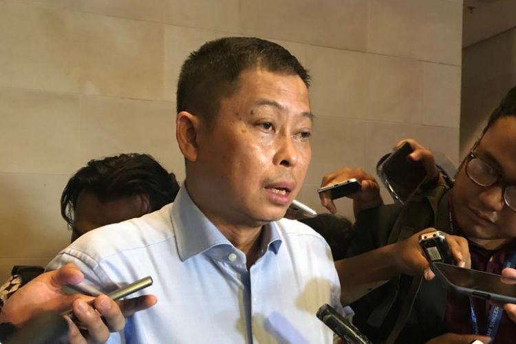 Menteri ESDM Ignasius Jonan mengumumkan kenaikan harga BBM premium di sela-sela kegiatan Pertemuan Tahunan IMF-Bank Dunia di Sofitel Hotel, Nusa Dua, Bali, Rabu (10/10/2018).