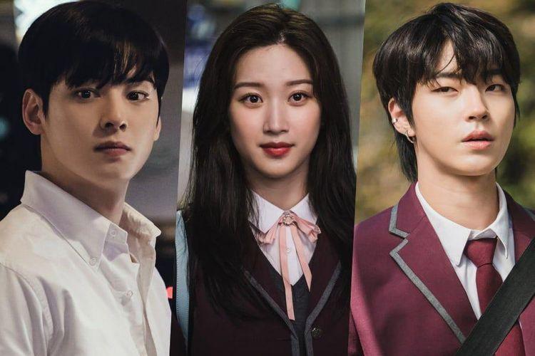 Para bintang drama True Beauty, (dari kiri) Cha Eun Woo, Moon Ga Young, dan Hwang In Yeob.