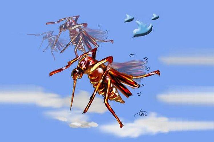 Ilustrasi nyamuk Aedes aegypti dan DBD (Demam Berdarah Dengue)
