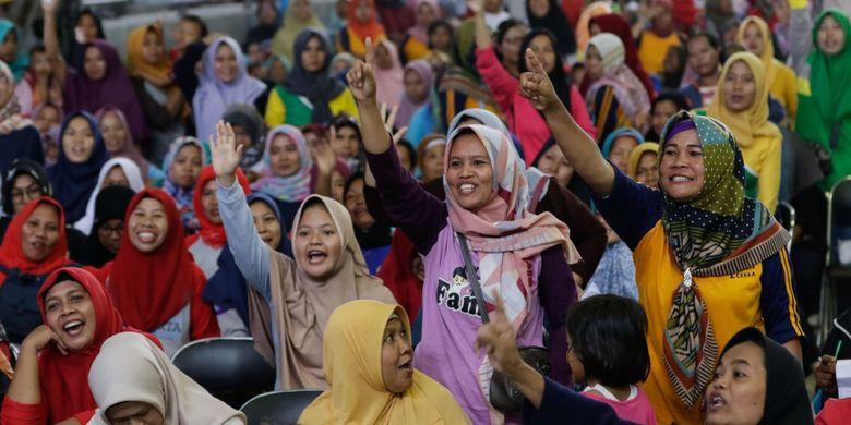 Peserta program Indonesia SIAP untuk meningkatkan kesadaran gizi masyarakat melalui kegiatan edukasi dan literasi gizi yang diadakan di Cirebon, Sabtu (25/1/2020).
