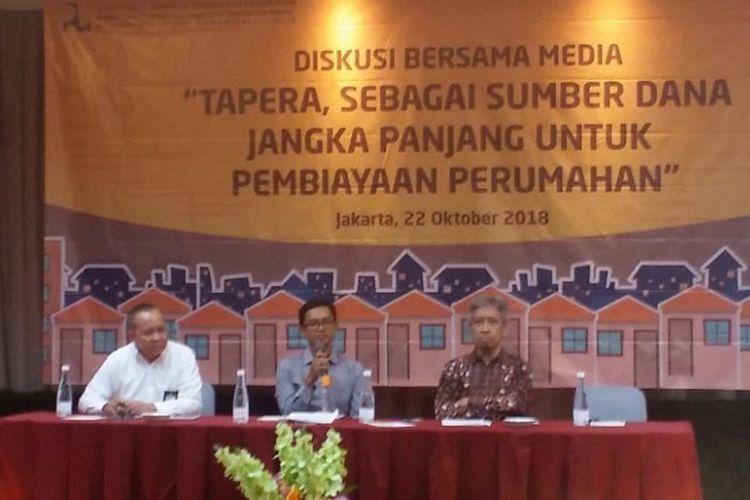 Diskusi Bersama Media dengan tema Tapera sebagai Sumber Dana Jangka Panjang untuk Pembiayaan Perumahan, di Jakarta, Senin (22/10/2018).