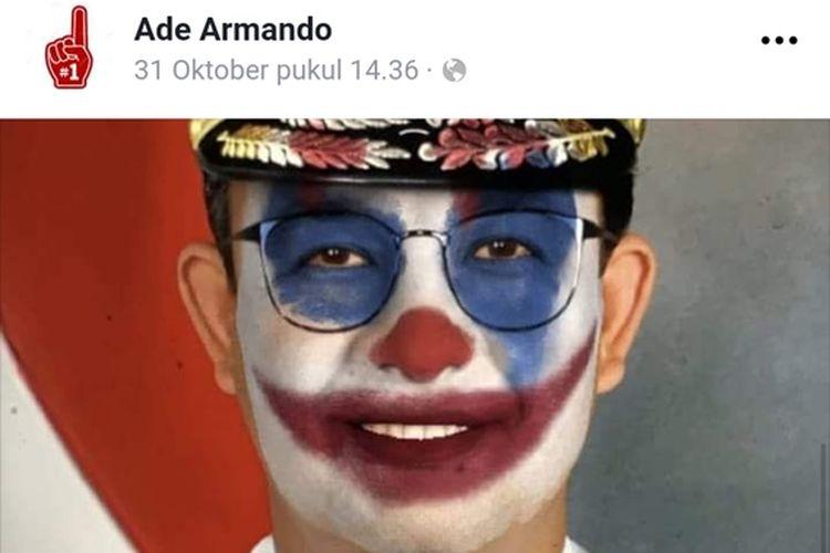 Tangkapan layar postingan foto Anis Baswedan diubah menjadi mirip Joker di laman Facebook Ade Armando, Sabtu (2/11/2019).