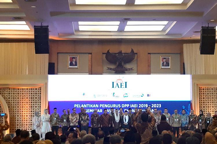 Menteri Keuangan Sri Mulyani Indrawati ketika melantik pengurus Ikatan Ahli Ekonomi Islam (IAEI) di Jakarta, Jumat (13/12/2019).