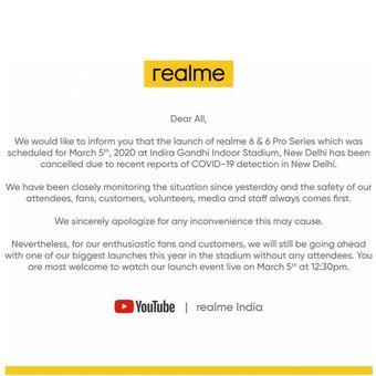 Realme beri informasi perubahan metode peluncuran realme 6 dan realme 6 pro melalui Youtube