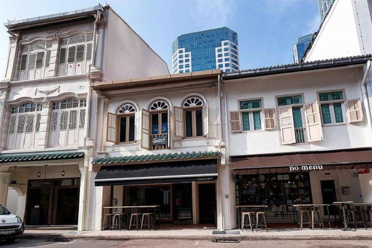 Ruko bersejarah di Area Konservasi Telok Ayer, Singapura.