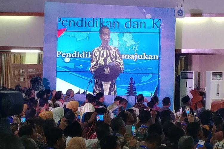 Presiden Jokowi saat membuka Rembuk Nasional Pendidikan dan Kebudayan di Depok, Jawa Barat, Selasa (6/2/2018).