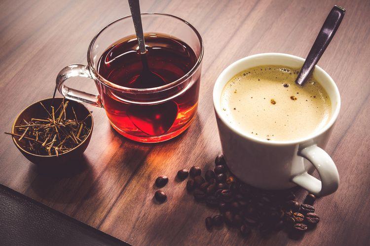 Ilustrasi kopi dan teh panas