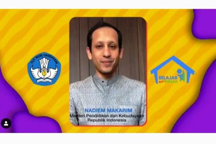 Tangkapan layar Nadiem Makarim di akun Instagram Kemdikbud RI.