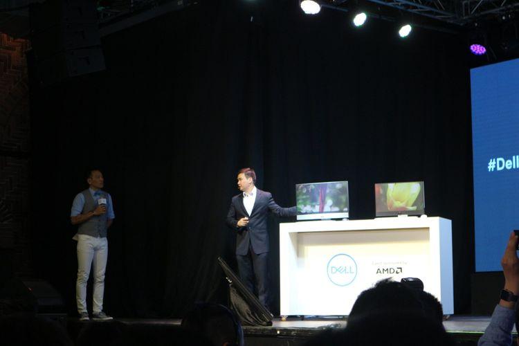 Senior Vice President Dell Raymond Wah mengumumkan all-in-one PC Inspiron 27 7000 dan Inspiron 24 5000 di Taipei, Taiwan, Selasa (30/5/2017).